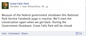 Facebook post by Great Falls Park on the closure due to the government shutdown.