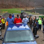 Gathering volunteers at the Trout Pond at Coopers Rock