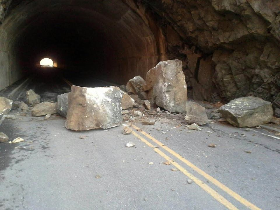 Rock fall at the Mary's Rock Tunnel March 25, 2015.