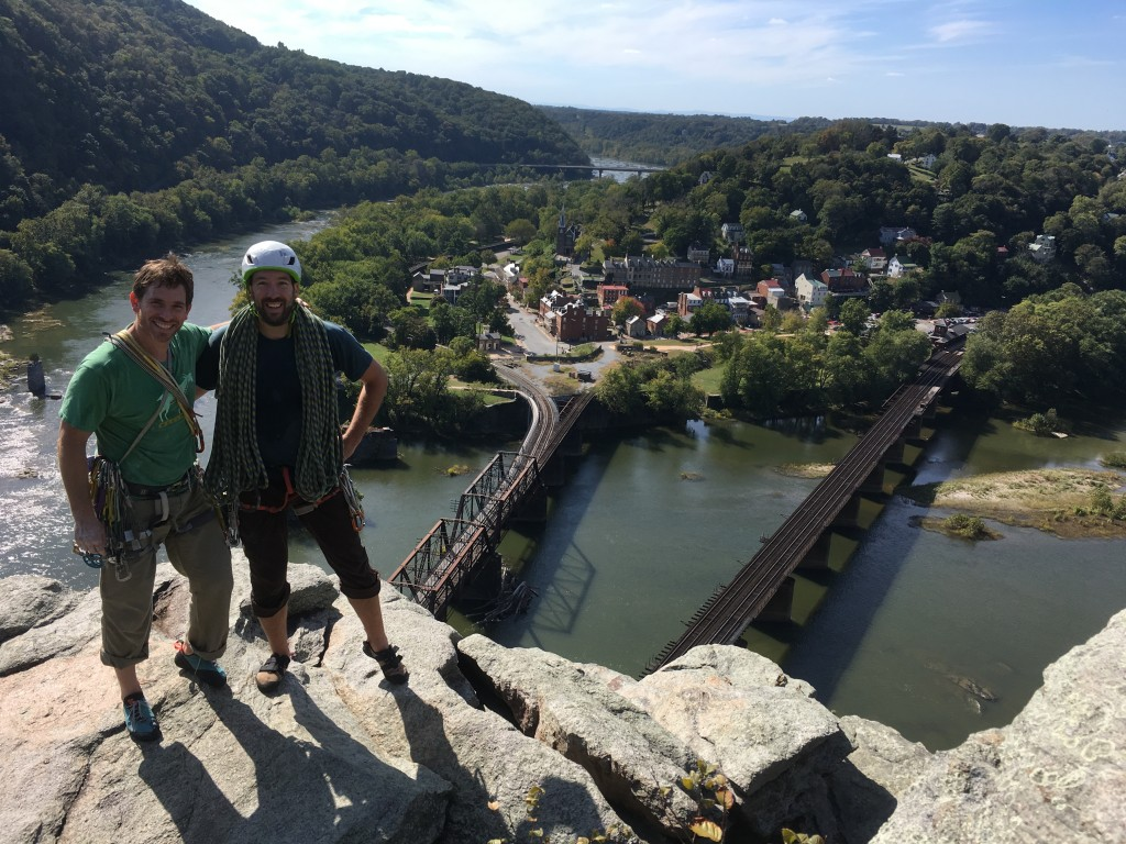 Access Fund Policy Director Erik Murdock and MAC President Chris Irwin on top of Maryland Heights.