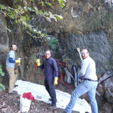 Removing graffiti at Ilchester in Patapsco State Park: September 2013