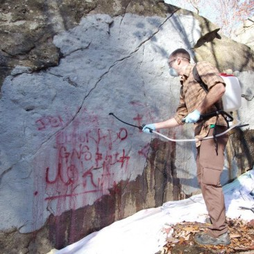 Removing graffiti at Northwest Branch: November 2013