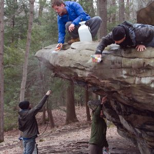Removing graffiti at Coopers Rock